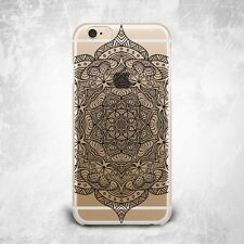 Tribal Henna Mandala Floral TPU Silicone Rubber Clear Case Cover Skin for iPhone