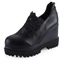 Hidden Platform Wedge High Heel Womens Shoe Black Linen Pump Round Toe Shoes ACA
