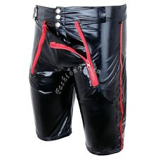 Mens Gay Fetish Zipper Tight Shorts Patent Leather Wetlook Clubwear Boxer Briefs
