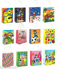 Party Gift Themed Paper Bags Handles Childrens Birthday Christmas Shopping 10pk