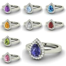 Pear-Cut Gemstone & G/SI Diamond Halo Ring in 10k/ 14k/ 18k White Gold Certified