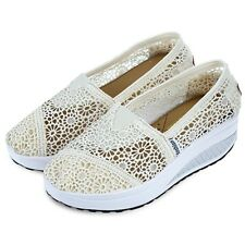 Womens Lace Leather Hollow Out Platform Slip On Pumps Shoes Mesh Sneakers AAU