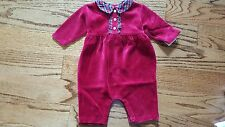 NEW Ralph Lauren girls Holiday velour long sleeve romper - Bow ties in back
