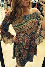 HONEYME TAUPE MULTI-COLORED PAISLEY TUNIC DRESS size SMALL MADE IN USA