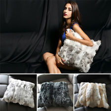 Throw Decorative Real Rabbit Fur Pillow Case Cushion Protector Cover Winter 17""