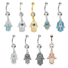 14G Hamsa Hand Dangle Belly Navel Body Piercing Body Jewelry