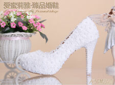 New Lady's Sexy Snow White LACE Wedding Shoes Sweet  flower high-heel For party