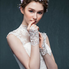1 pair Beautiful bride Lace Beaded Hook Finger Gloves Womens Wedding Elegant