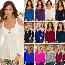 Womens Ladies Sexy Off Shoulder Long Sleeve Blouse Shirt Casual Top T-shirt Plus