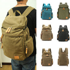 Fashion Mens Camping Hiking Large Backpack Canvas Rucksack Bag Army Military