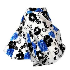Beautiful Vintage Style Bubble Skirt A-line Pleated Skirt white blue