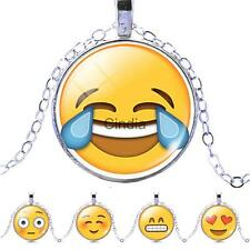 Yellow emoji Photo Cabochon Glass Pendant Plated Silver Chain Necklace Jewerly