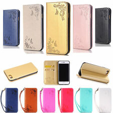 For iPhone 7 W/ Strap Leather Wallet Card Holder Case Cover Flip For iPhone Skin