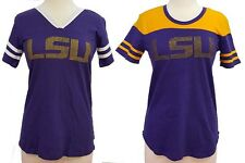 LSU Tigers Purple/White or Purple/Gold Rhinestone Ladies' Football Tee by e5