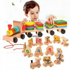 Toddle Baby Kid Wooden Toys Stacking Train Geometric Stacker Building WT88