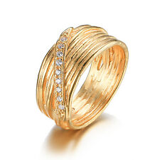 JewelryPalace Wedding Band Ring CZ Solid 925 Sterling Silver 18k Gold Plated
