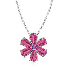 Pear Shape Pink Sapphire Amethyst Floral Pendant Necklace 14k White Gold Chain