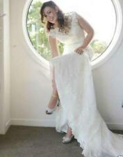 Lace Wedding Dress Mermaid Sweep Train Bridal Gown White Ivory Handmade beaded