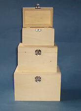 Set of 3 New Wooden Storage Gift box with hinges & clasps