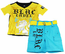 Blac Label Baby Boys Infant Yellow Graphic T-Shirt With Belted Shorts Set