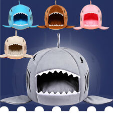 Dog House Pet Sleeping Bed Novelty Soft Shark Shape with Removable Cushion New