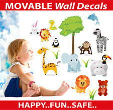Zoo Animals Reusable Wall Sticker Decal Set Easy Reuse Remove