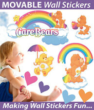 Rainbow Care Bears Reusable Wall Sticker Decal Set Easy Reuse Remove