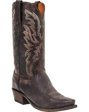 Lucchese N1663 Mens Antique Dark Brown Goat Leather Western Cowboy Boots