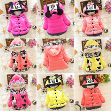 Baby Kids Girls Cartoon Winter Hooded Hoodie Coat Fleece Jacket Toddler Clothes