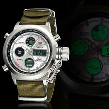 OHSEN Mens Military Army Digital & Analog Nylon Canvas Band Sport Watch Quartz