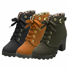 Girl Women High Top Heel Lace Up Buckle Ankle Boots Winter Pumps Suede Shoes I6