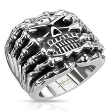 Skull Wide Cast Skeleton Ring 316L Stainless Steel Finger Gothic (FL333)