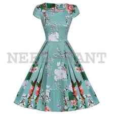 Women's 1950s 60s Vintage Floral Style Rockabilly Cocktail Party Swing Dress UK