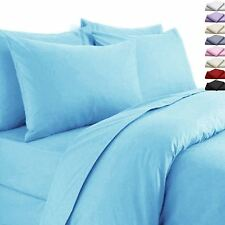 FLANNELETTE 100% COTTON BRUSHED DYED DUVET SETS BED FITTED SHEET PILLOW COVERS