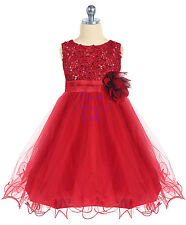Girls Red Sequined Party Dress with Ruffled Tulle Skirt Size 5 6 7 8 10 12 14
