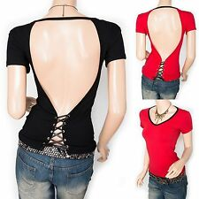 Stunning Sexiest Backless Corset Lace Up Short Sleeves Blouse Top