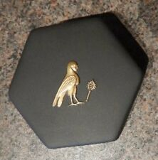Gold Mythological Animal Egyptian Hexagonal Box Black Basalt Wedgwood Jasperware