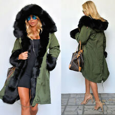 Fashion Womens Warm Winter Faux Fur Hooded Coat Long Jacket OVERCOAT THICK Parka