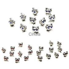 10pcs Silver Alloy Charms Cat Loose Beads Connector fit for Bracelet Necklace