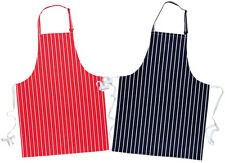 Portwest S839 Unisex Butchers Apron Cotton Adjustable Fit Red Or Navy Pinstripe