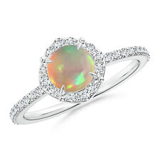 Natural cabochon Opal Diamond Halo Engagement Ring 14k White Gold Size 7