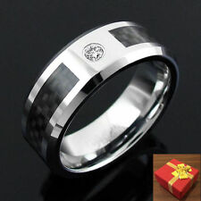 Tungsten Black Carbon Fiber Inlay 0.10Ct. CZ Men's Band Ring Engraving Available