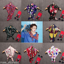 Fashion Women Lady Silk Big Satin Square Large Scarf Bandana Wrap Printing shawl