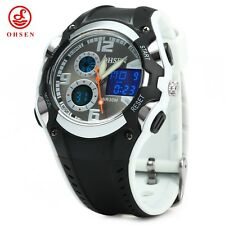 OHSEN Dual Time Sports Men Digital Watch  Backlight Separate Second Dial AUK
