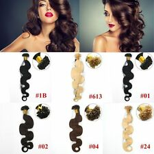"100S 20"" U Nail Kertain Tip Remy Body Wavy Human Hair Extensions 0.5/0.8/1.0G/S"