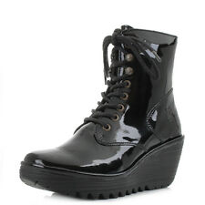 Womens Fly London Ygot Nevada Black Patent Leather Wedge Ankle Boots Shu Size