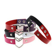 Collar Punk Goth Heart Cross Choker Necklace Rings Harajuku Leather Neck Rings