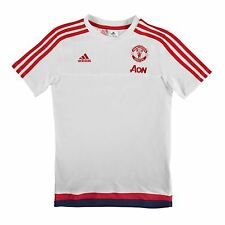 Adidas Manchester United FC T-Shirt Juniors White/Red Football Soccer Top Tee