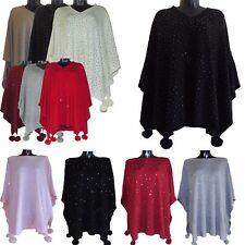 WOMENS LAGENLOOK SOFT KNIT WOOL DIAMANTE KAFTAN POM POM PONCHO SHAWL PLUS SIZE