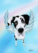 Harlequin Great Dane Angel Dog Angel Pet Memorial Rainbow Bridge Dog Breed Art
